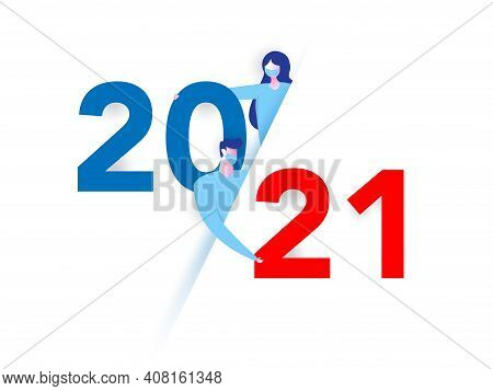 Girl And Boy Wear Mask With Happy New Year 2021. Vector. Number 2021 In The Modern Concept. 2021 Tex