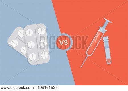Oral Pills Versus Vaccine In Syringe Vector Flat Illustration. White Tablets In Blister Pack Against