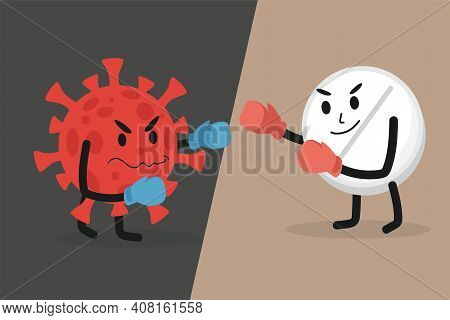 Oral Vaccine Tablets Fight With Angry Coronavirus Cell Vector Flat Illustration. Brave White Tablet