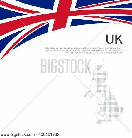 Great Britain Flag, Mosaic Map On A White Background. National Poster Of The United Kingdom. Great B