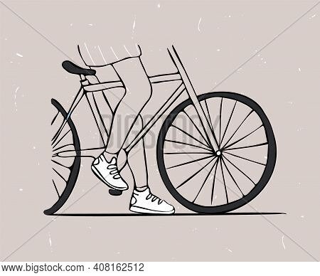 Drawn Isolated Vector Image With Legs Of Cyclist.