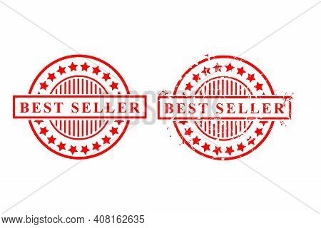 2 Style Simple Vector Red Rusty And Clean Vector Rubber Stamp, Best Seller, Isolated On White