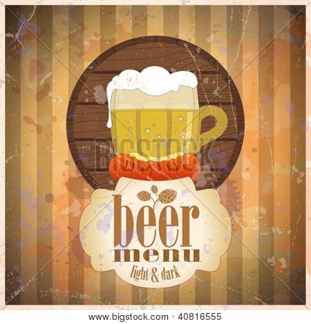 Beer menu design template, retro style. Eps10.