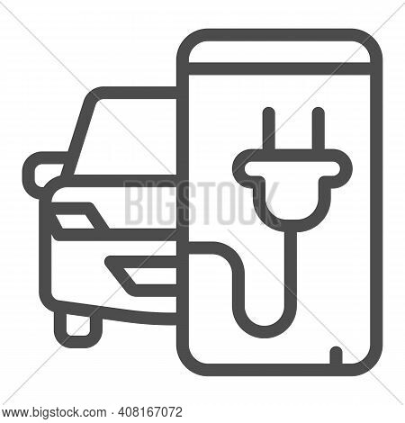 Electric Car And Smartphone With Plug Line Icon, Electric Car Concept, Monitoring Electric Car Charg
