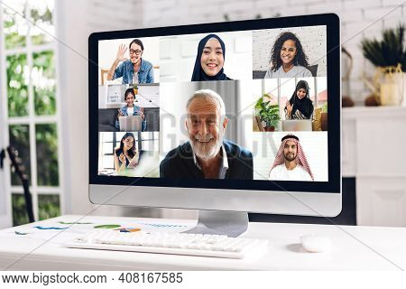 Creative Desktop Computer Screen View With Group Of Multiracial Business Diverse Colleagues Discussi