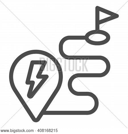Route And Location Pin With Lightning Line Icon, Electric Car Concept, Charge Geo Tag On Map Sign On