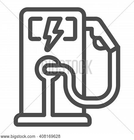 Electric Fuel Pump Station Line Icon, Electric Car Concept, Electric Vehicle Charging Station Sign O