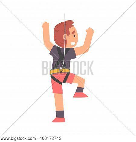 Boy Rock Climber Character, Cute Cheerful Kid Climbing Wall On Ropes, Boy Doing Sports Or Having Fun