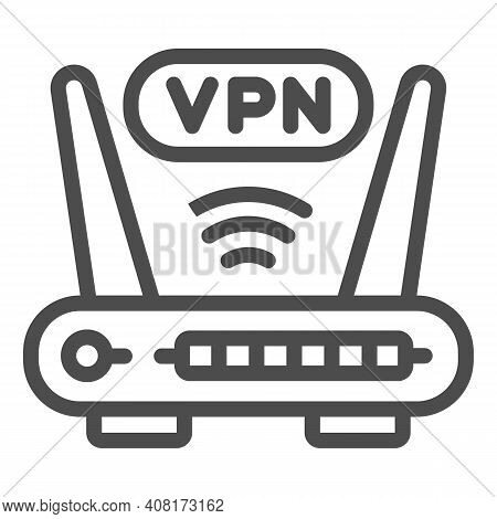 Router With Vpn Connection Line Icon, Web Security Concept, Virtual Private Network Sign On White Ba