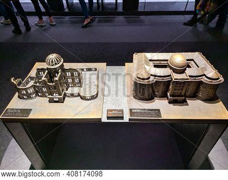 Hiroshima, Japan - April 10, 2018: Model Of A-bomb Dome At The Hiroshima Peace Memorial Museum. Mode