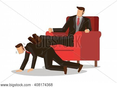 Business Illustration Concept Of A Boss Trampling On A Employee. Flat Vector Illustration