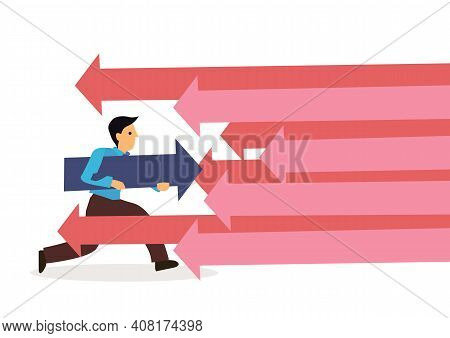 Businessman Attacked By Lots Of Attacks. Concept Of Corporate Competition. Isolated Flat Cartoon Vec