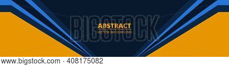 Dark Blue Abstract Wide Banner With Yellow And Blue Lines On Blank Space. Dark Sporty Modern Bright
