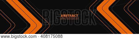Black Abstract Wide Banner With Orange And Gray Lines, Arrows And Angles. Dark Modern Sporty Bright