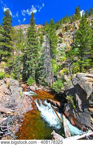 Waterfall On The Big Thompson River In Rocky Mountain National Park Colorado