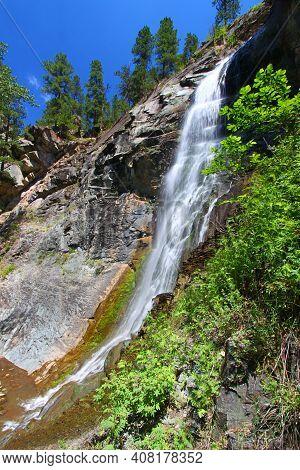 Bridal Veil Falls In The Black Hills National Forest Of South Dakota