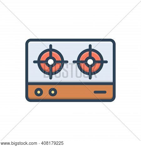 Color Illustration Icon For Stove Burner Fire Two-burner Gas Campfire Flame Appliance Domestic Dange