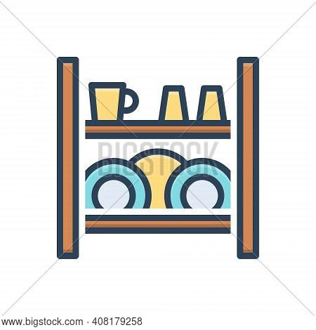 Color Illustration Icon For Dish-rack Rack Dish Display Household Kitchen Cleaner Hanging Housework
