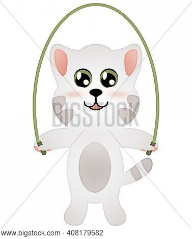 Jump Rope Kitty Illustration Isolated on White with Clipping Path for Sublimation Designs