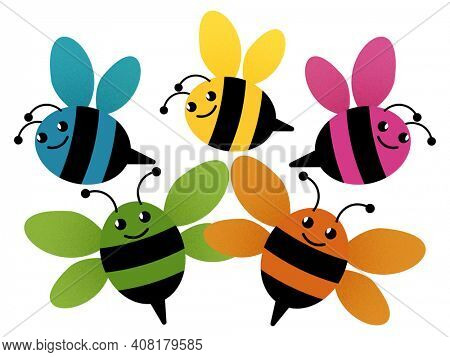 Rainbow Colored Bumblebee Family or Friends Illustration Isolated on White Background with Clipping Path. Perfect for sublimation design  projects.