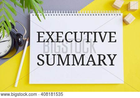 Executive Summary Text Written In Notebook. Concept For A Short Document Or Section Of A Document Pr