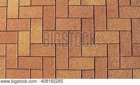 Sandy Brown Natural Stone In Machined Rectangular Blocks Laid Out In Pavement Masonry, Graphic Resou