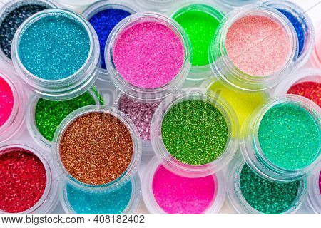 Trendy Multicolored Glitter In Jars. Shimmer, Sparkle For Makeup, Manicure. Shiny Bright Powder Pigm