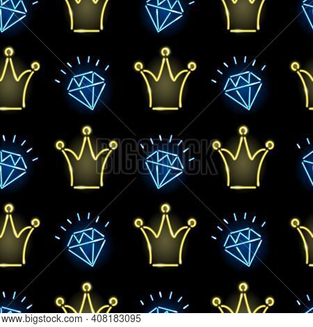 Seamless Pattern With Neon Crowns And Diamonds On Black Background. Princess, Fashion, Girly Concept