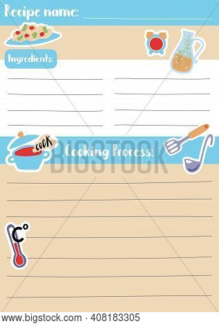 Recipe Card Template Vector Illustration In A5 Size, Vertical Format. Stay Home Kids Activity Hobby.