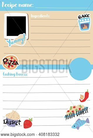 Recipe Card Template Vector Illustration In A5 Size, Vertical Format. Recipe Template Pad For Bujo.