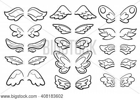 Cute Wing Set Black Line Art Vector Illustration On White Background. Feminine Wing Of Angel, Muse,
