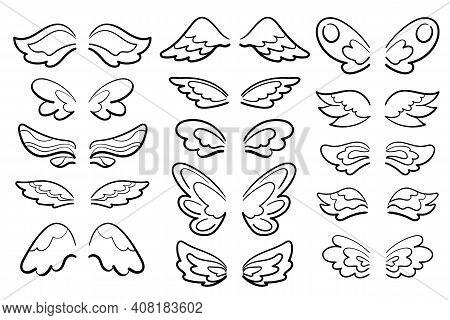 Cute Wing Set Black Line Art Vector Illustration On White Background. Feminine Wing Of Angel, Muse,