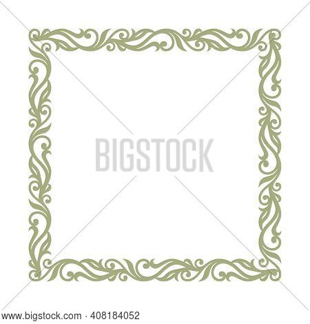 Square Frame For Photo, Painting, Text. Elegant Floral Ornament Of Leaves And Curls. Square Blank Te