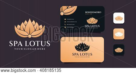 Minimalist Feminine Lotus Spa Logo Design With Business Card Template. Logo Can Be Used For Icon, Br
