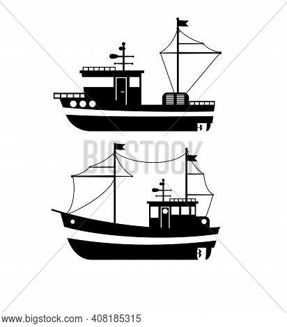 Silhouette Of The Fishing Boat, Side View, Commercial Fishing Trawler, Industrial Seafood Production