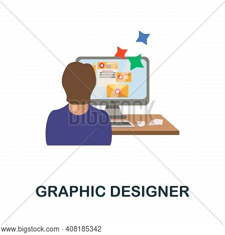 Graphic Designer Flat Icon. Color Simple Element From Freelance Collection. Creative Graphic Designe