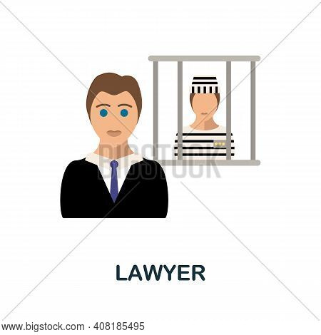 Lawyer Flat Icon. Color Simple Element From Freelance Collection. Creative Lawyer Icon For Web Desig