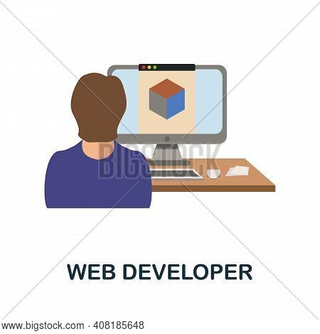 Web Developer Flat Icon. Color Simple Element From Freelance Collection. Creative Web Developer Icon