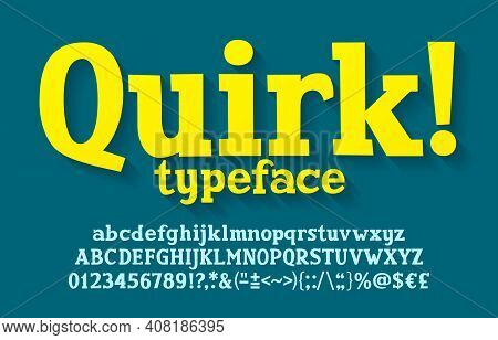 Quirk Alphabet Font. Hand Drawn Uppercase And Lowercase Letters, Numbers, Punctuation. Stock Vector