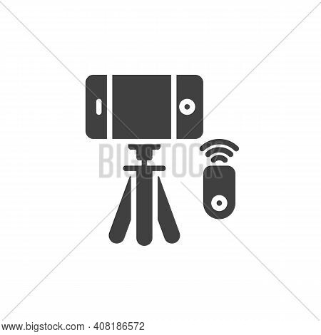 Phone Selfie Tripod Vector Icon. Filled Flat Sign For Mobile Concept And Web Design. Tripod With Sma