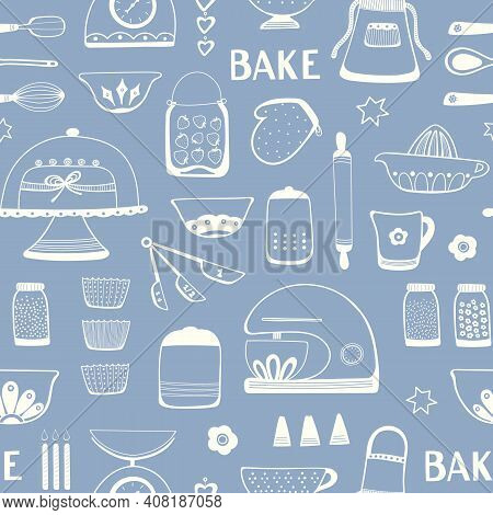 Baking Pattern Design. Seamless Repeat Of Home Cake Cooking Utensils And Ingredients. Kitchen Vector