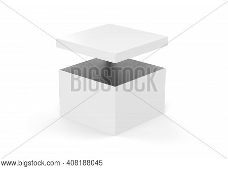 White Blank Rigid Neck Box With Inner Foxing For Branding Presentation And Mock Up, 3d Illustration