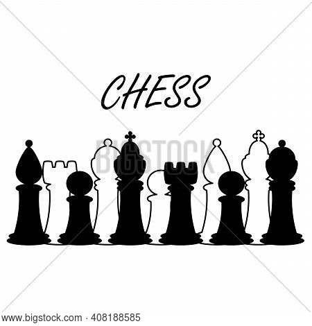 Border With Chess Pieces. Vector Background With Chess King, Queen, Rook, Bishop, Knights, Pawn