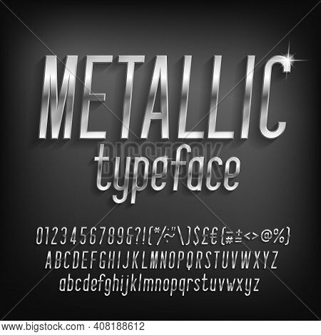 Metallic Alphabet Font. Beveled Chrome Letters, Numbers And Punctuation With Shadow. Stock Vector Ty