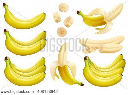 Set Of 3d Vector Realistic Illustration Bananas. Banana,half Peeled Banana,bunch Of Bananas, Pieces