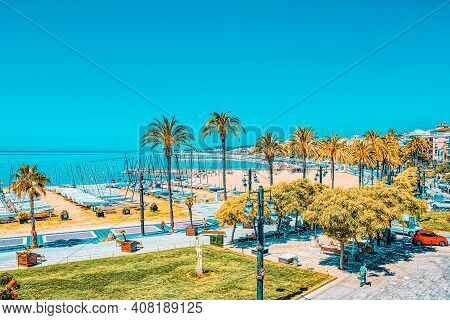 View Of The Embankment And The Promenade In Small Resort Town-si