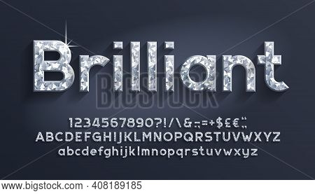 Brilliant Alphabet Font. Luxury Diamond Letters, Numbers And Punctuations. Uppercase And Lowercase.