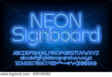 Neon Signboard Alphabet Font. Blue Neon Light Simple Letters, Numbers And Punctuation. Uppercase And