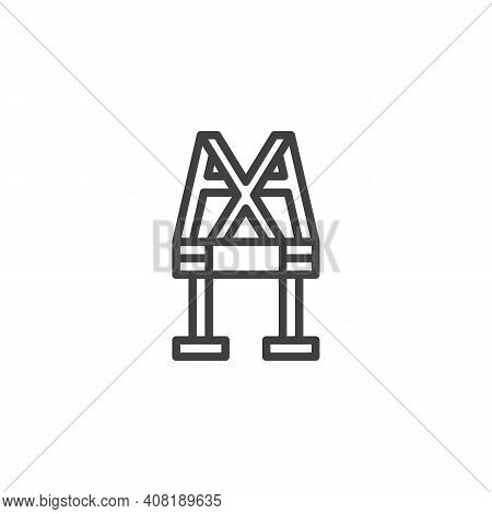 Work Safety Belt Line Icon. Linear Style Sign For Mobile Concept And Web Design. Safety Harness Outl