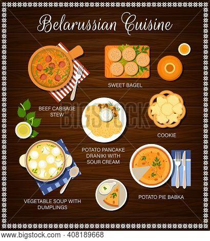 Belarussian Cuisine Food, Belarusian Menu Of Restaurant, Vector Traditional Dinner And Lunch. Belaru